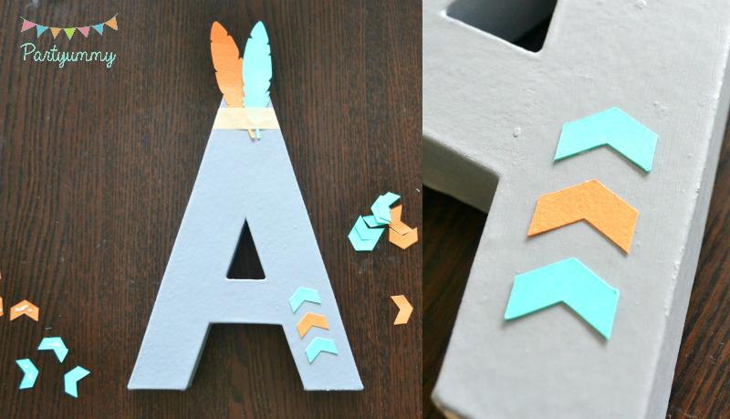 decoraton-lettre-prenom-3D-peinture-masking-tape-plume-feleche-indien