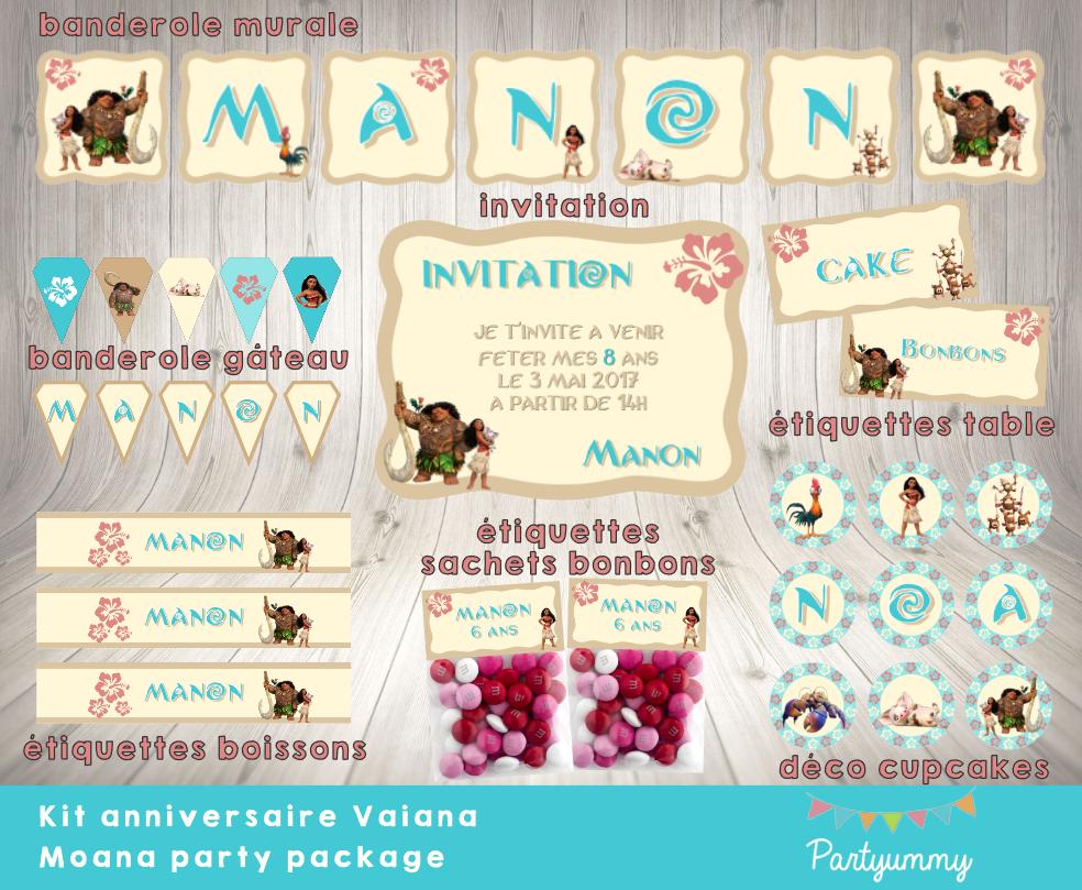 Bien connu Kit anniversaire Vaiana gratuit - banderole cartes déco à télécharger HS17