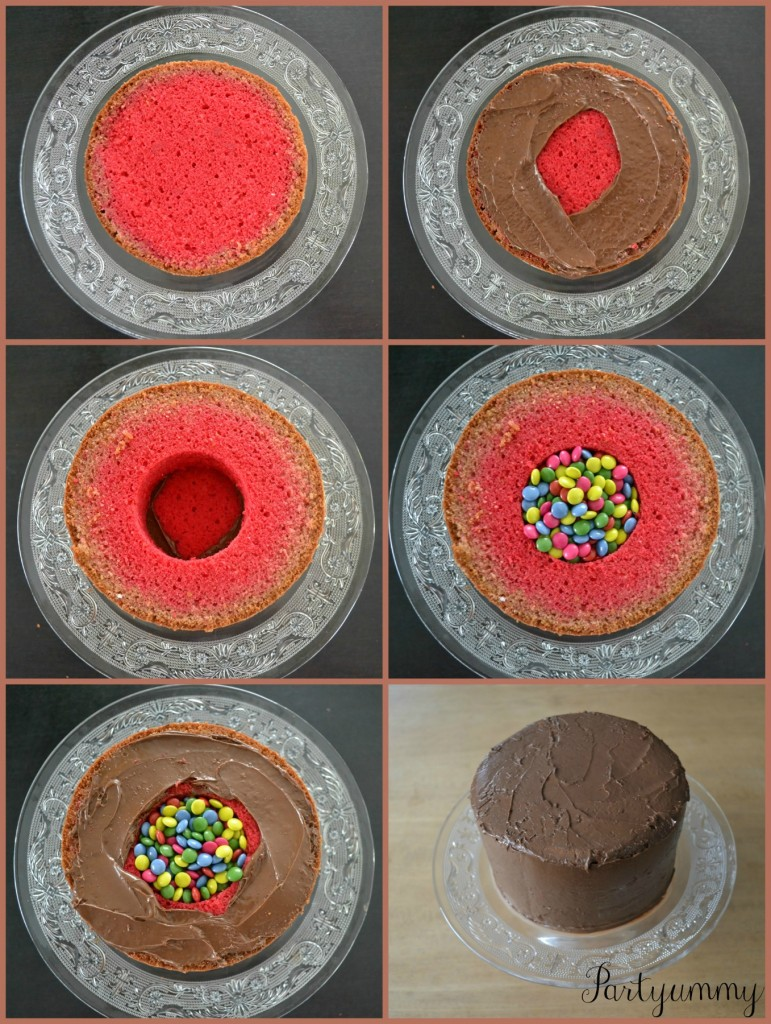 gateau-surprise-pinata-cake-montage-smarties
