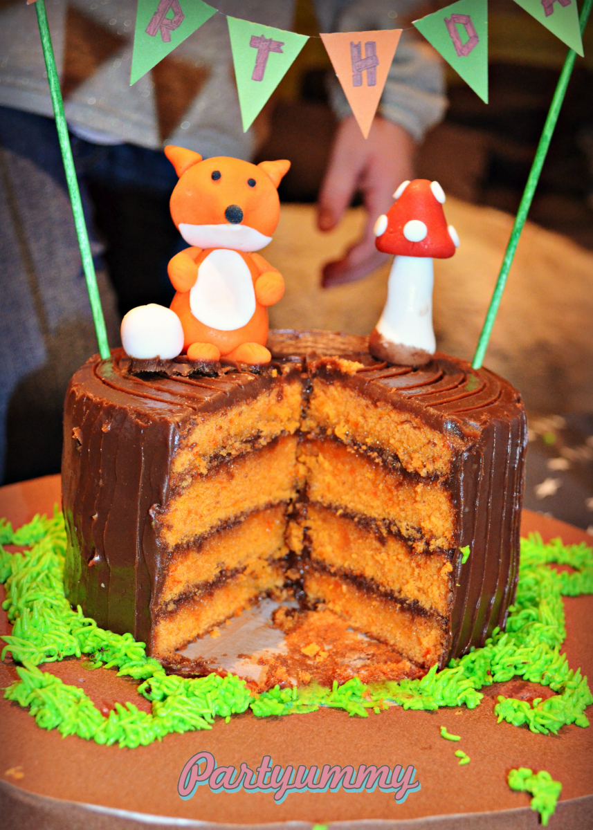 gateau-renard-decoupe-fox-woodland-cake