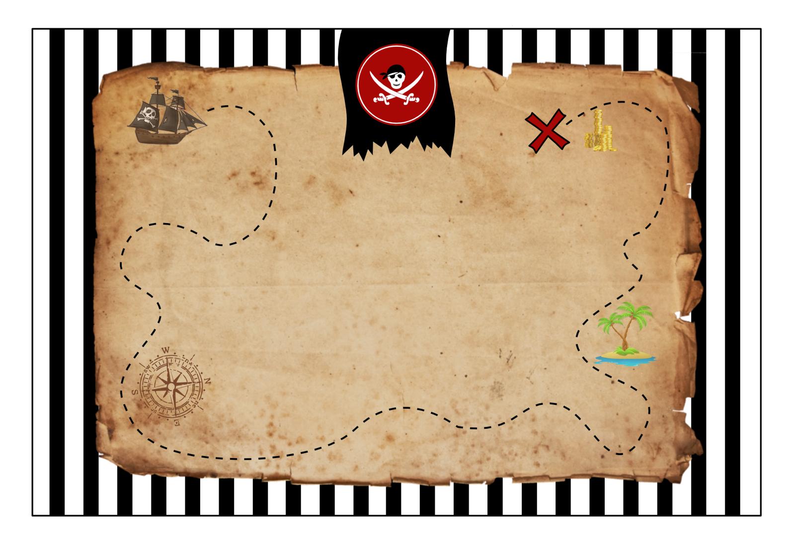 Invitation pirate carte au trésor