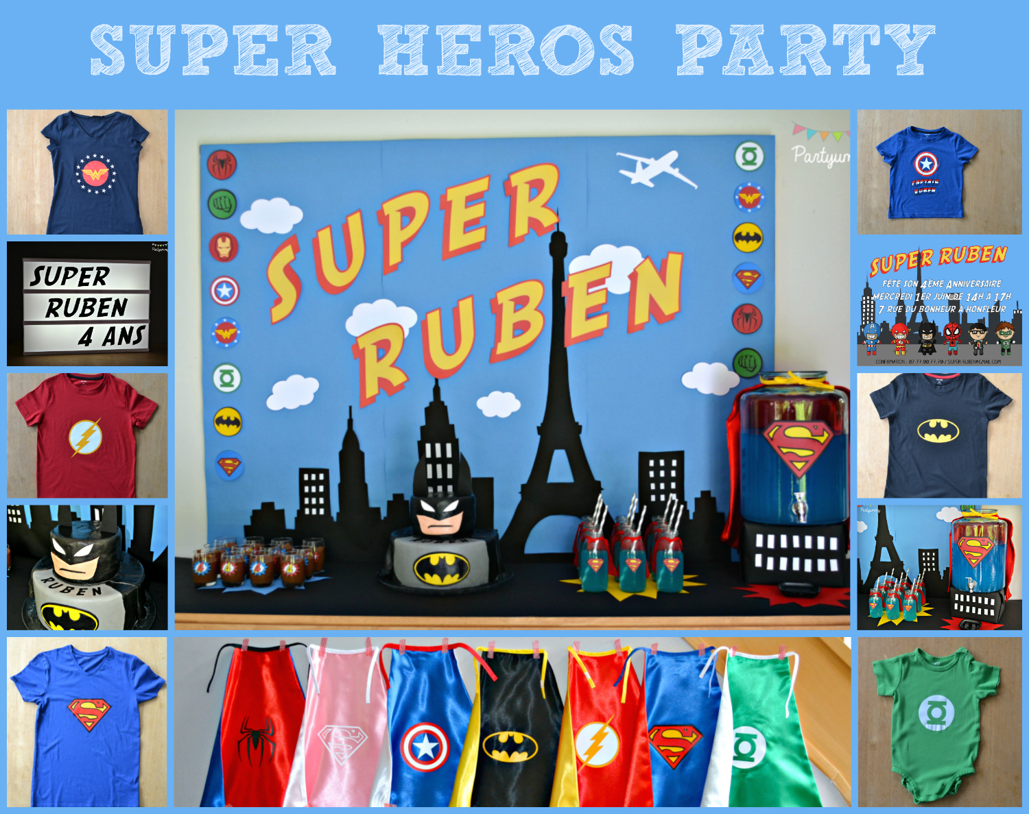 anniversaire-super-heros-batman-gateau-tee-shirt