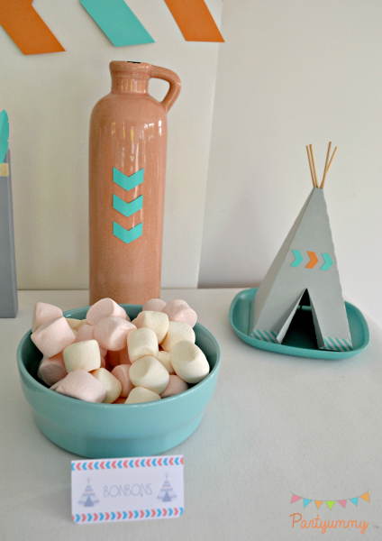 bonbons-anniversaire-tipi-teepee-theme-indien