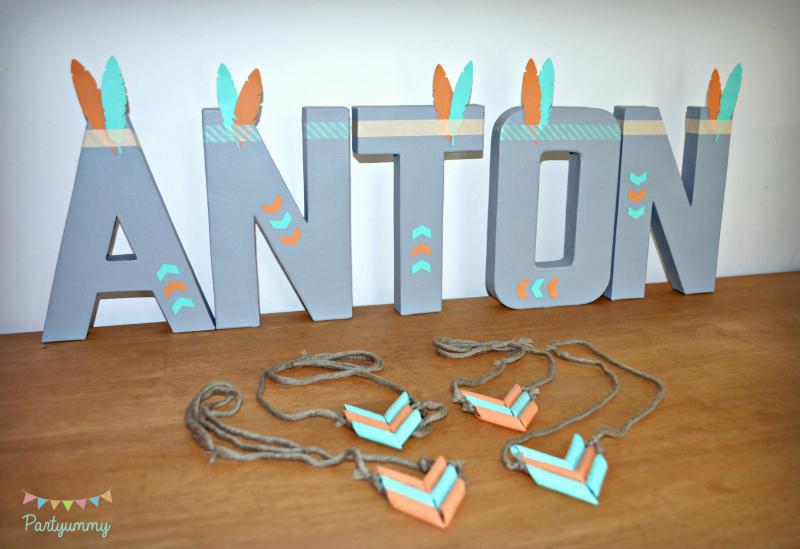 decoration-lettre-prenom-3D-peinture-masking-tape-plume-feleche-indien