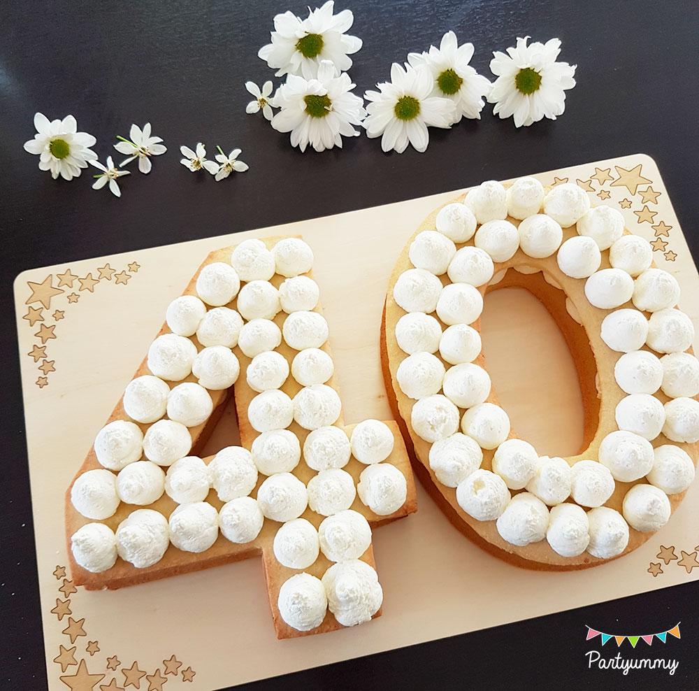 Tuto number cake chiffre nombre 40 avec pâte sablés, chantilly mascarpone et fleurs fraiches